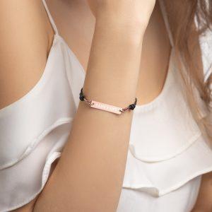 Engraved Silver Bar String Bracelet (Simple Font)