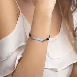 Engraved Silver Bar String Bracelet (Simple Font)