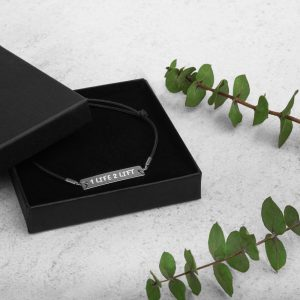 Engraved Silver Bar String Bracelet (Fun Font)